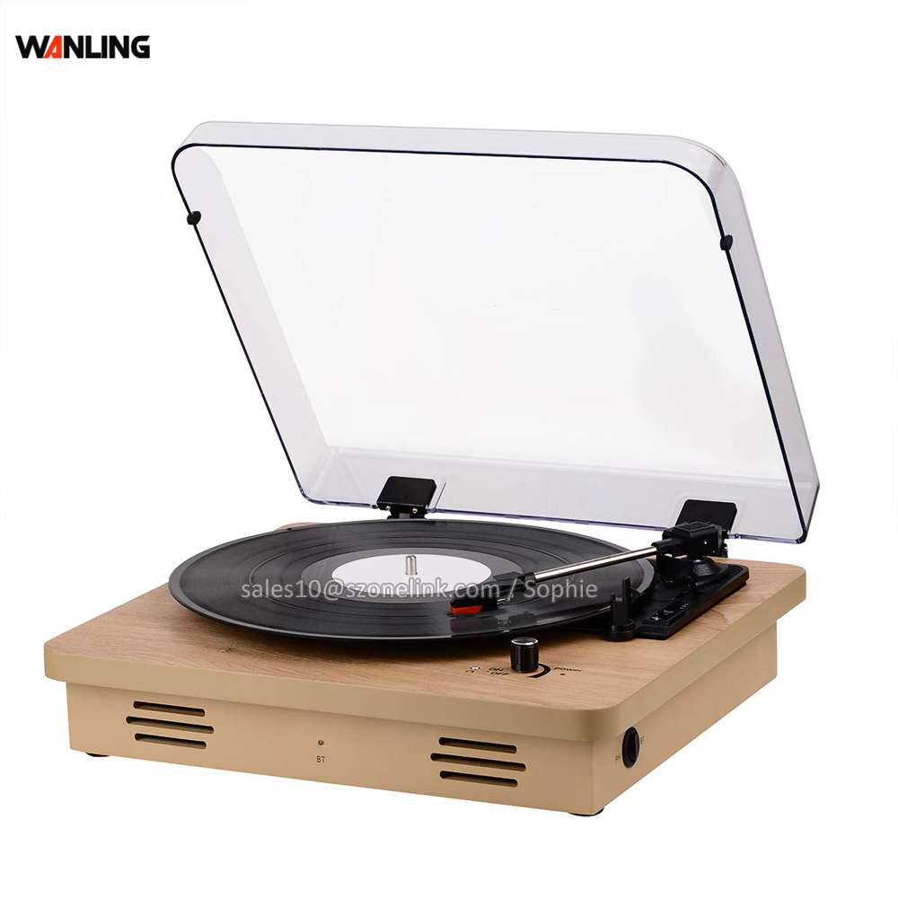Vinyl wooden auto stop LP technics turntable with new record player