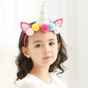 New Custom Kids Baby Hairband Flower Pom Pom Ball Unicorn Party Hairhoop
