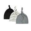3 Pack Baby Hat Soft Cotton Unisex Plain and Stripes Baby Knot Hat