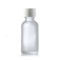 1 oz Clear FROSTED Boston Round Glass Bottle w/ White Child Resistant Cap