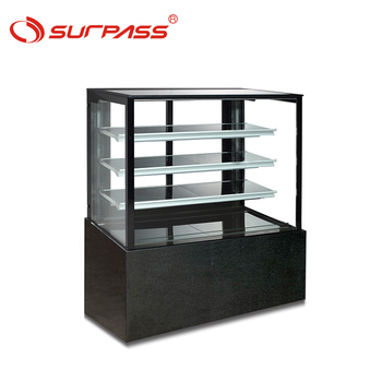 Latest design Flat glass 4 shelve mini cake showcase price marble base