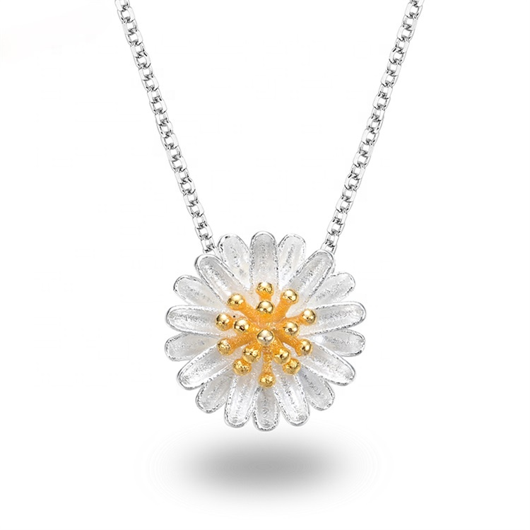 NLC060 Lisa Jewelry sunflower daisy flower silver jewelry 925 sterling necklace for women, White gold