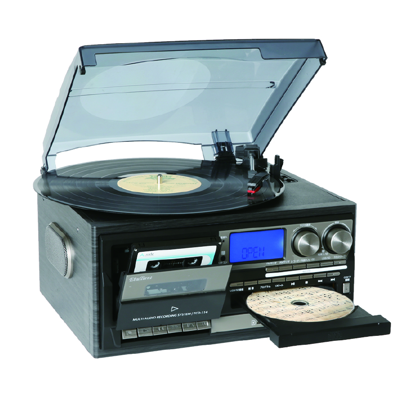 Multi giradischi player & vinile giocatore con Lettore CD/USB/SD Record/AUX Input/Radio/Cassette