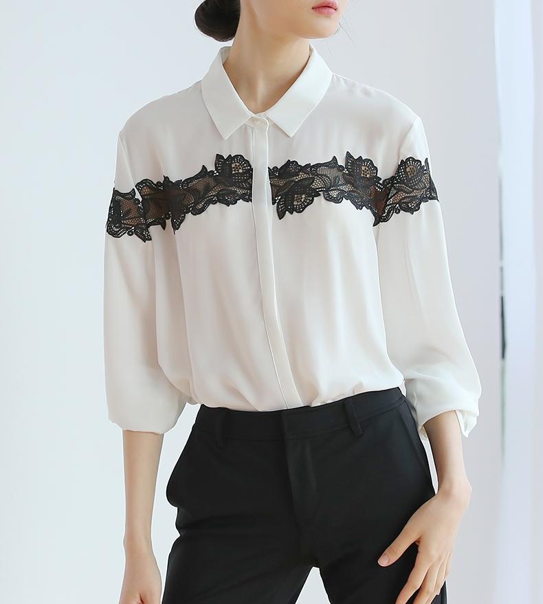 5f68af4e2a5 2019 новый весенний стиль кружева шифон белая рубашка женская чувство  дизайна блузка