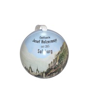 New Design Cheap Round Ball Shape Tin Box With Ribbon Christmas Gift Sphere Can