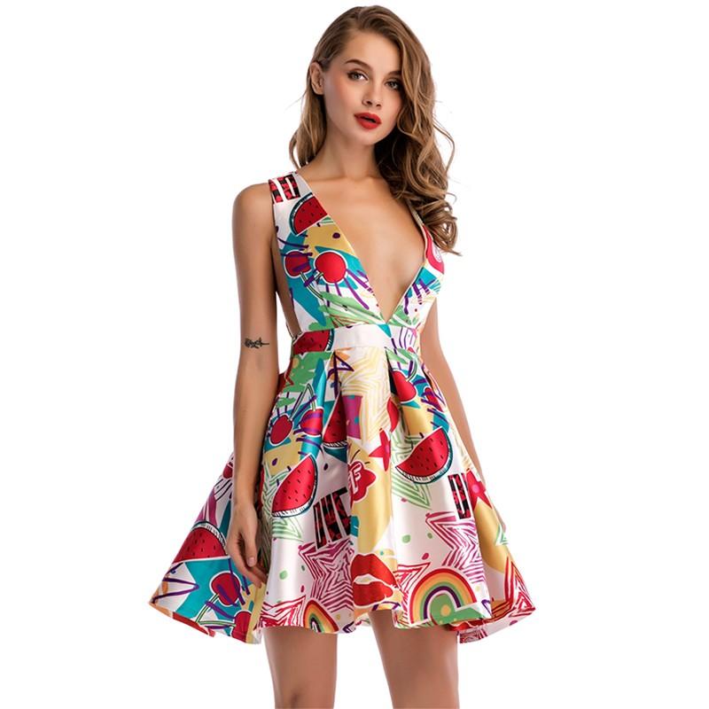 772320f86 Vestito Da estate Delle Donne 2019 Sexy Matura Stile di Una Linea di  Profondo Scollo A V
