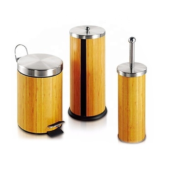 Eco Friendly Galvanized Sheet And Pp Wood Sprayed Bathroom Accessories Sets