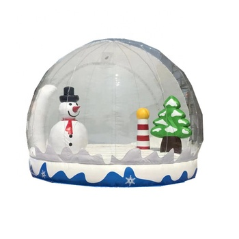 2019 Christmas Inflatable snow globe with snowman in / inflatable bubble clear tent for photobooth