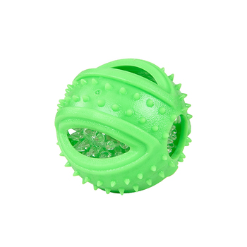 High Quality 3.5 Inch Ball Shaped Green Color LED TPR Foam Pet Dog Chew Toy