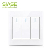 New BS UK Home Electric AC Power White Wall 3 Gang 1 2 Way Light Switch
