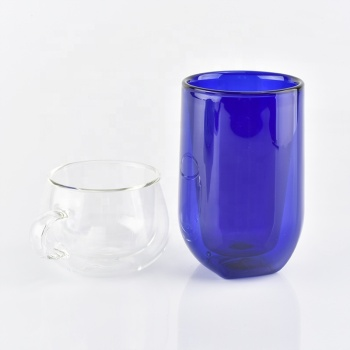 260ml blue borosilicate double wall glass