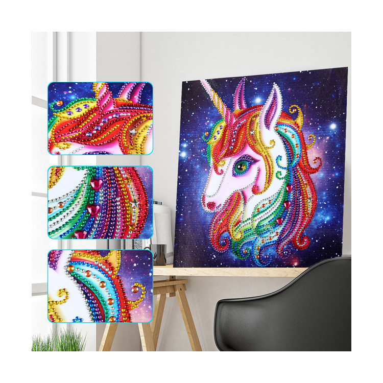 Wholesale DIY Little horse Shinny 5d special shaped diamond art painting kits with print <strong>picture</strong> on canvas