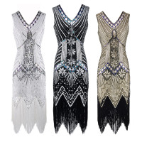 Wholesale Cheap Sequins Embroidery Gatsby Flapper Dress Plus Size Sexy Dancing Dress For Women 1920S Sequin Fringe Flapper Dress