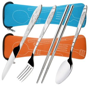 Picnic travel 4 Pieces stainless steel Portable flatware set for camping