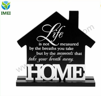 16X17CM YM3-086 carved wood signs/ home decoration signs holder/ house shape