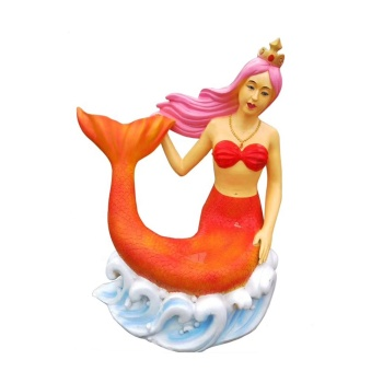 Handmade playground Ornament fiberglass cartoon Mermaid statue