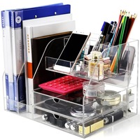 Custom Multifunction AcrylicFile Organizer Office Supplies Desk Stationery Organizer For School Home Accessories Organization