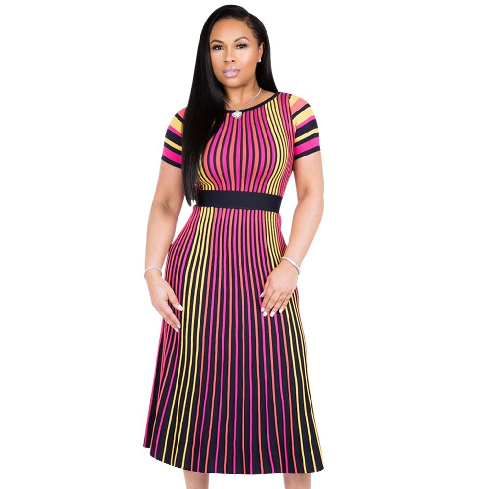 Cheap Design Casual Wear Nipped Waists Womens Dress Short Sleeve Color Stripes O-Collar Midi Ladies African Dresses фото