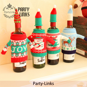 Yiwu Christmas Decoration Wine Bottle Covers Snow Reindeer Wine Bottle Covers