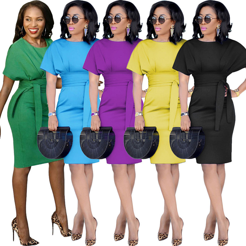 New Fashion OL Women Ladies Office <strong>Dress</strong> Clothes Knee-length Bodycon <strong>dress</strong> 3XL Plus Size <strong>Dress</strong> with Waist Stripe