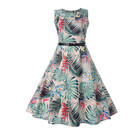 New Arrival O-Neck Kaftan Dress India Floral Print Summer Hepburn Vintage Women Big Swing Dress Plus Size S-2XL With Sashes