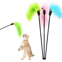 Hot Sale Lovely Pet Cute Interactive Toy Pure Color Soft Feathers Stick Toy with Small Bell Cat Teaser