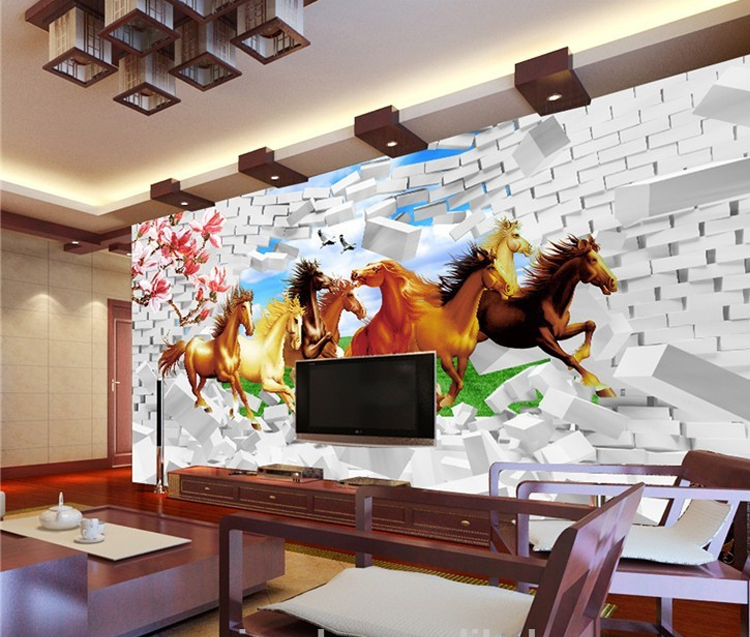 3d Running Horses Wallpaper For House Decoration Wall Paper Buy