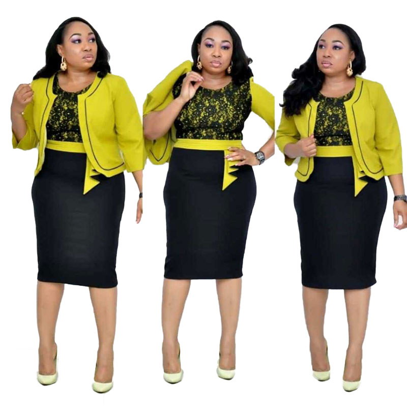 90428-MX3 2 Piece Suits Plus Size Dress With Jackets For Office Lady фото