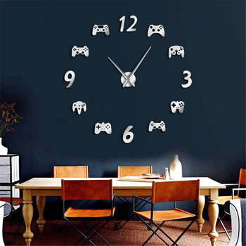 Game Controllers Luxury Wall Clock Big Clock DIY 3D Mirror Wall Sticker Watch Gamepad Huge Wall Watch Game Room Art Decor