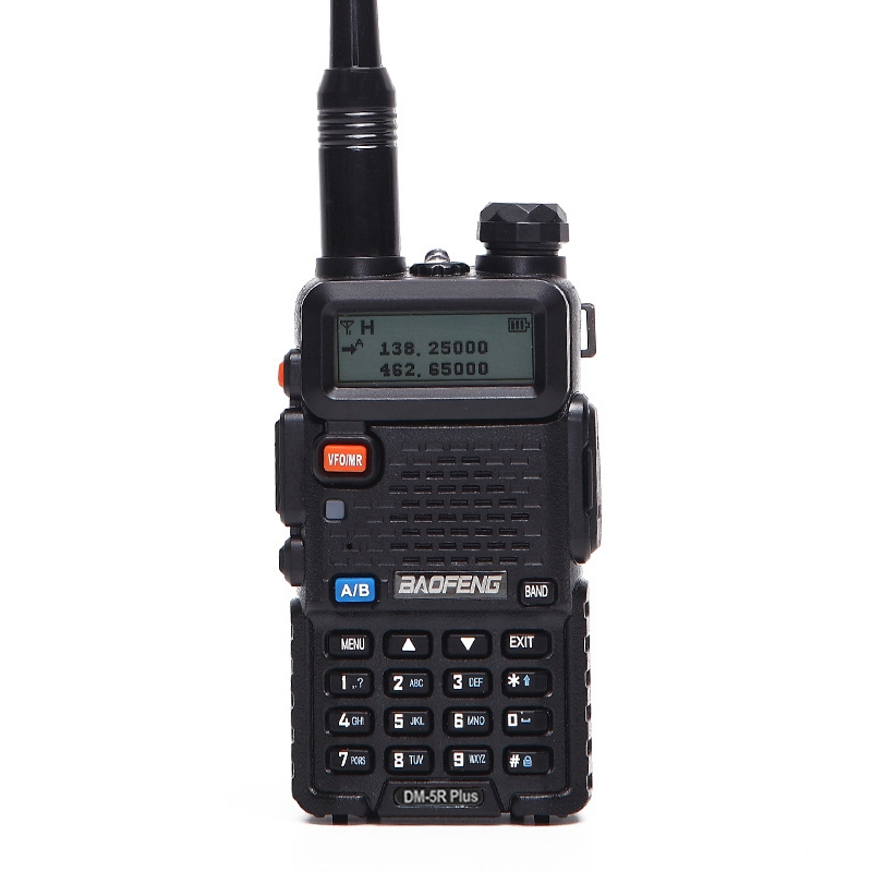 BaoFeng DM-5R PLUS 5 W Digital Dual Band Two-Way Radio VHF UHF Handheld Walkie Talkie, EUA Plug (Preto)