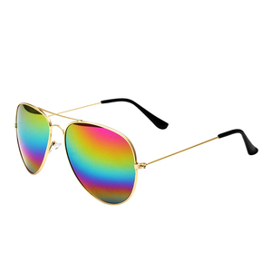 Womens Mens Classic Thin Metal Alloy Rainbow Mirrored Lens Aviation Pilot Sunglasses