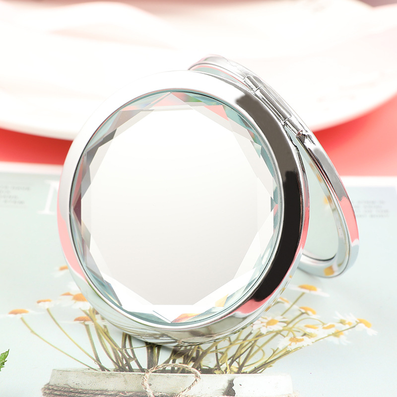 custom logo foldable cosmetic mirror double sided round shape makeup mirror for ladies, 10color or custom