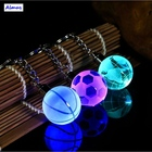 Crystal Led Light Keychain Car Key Chain Key Ring Football Basketball Earth Ball Pendant Keyring For Favorite Sportsman Gift