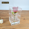 Hot Sale Clear Acrylic Flowers Box Crystal Acrylic Flower Rose Display Box with Logo