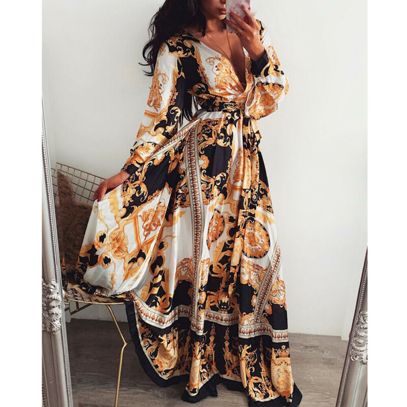 Alibaba.com / Women Long Sleeve V Neck Floral Boho Vintage Maxi Holiday Beach Dress