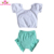 Summer Boutique 2 Pieces Outfit Cotton Baby Girls Crop Top Leotard And High Waist Bummies Set