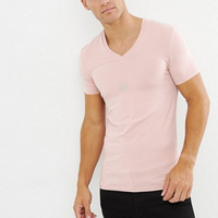 Latest Design Cheap slim fit 100% cotton v neck t shirts men