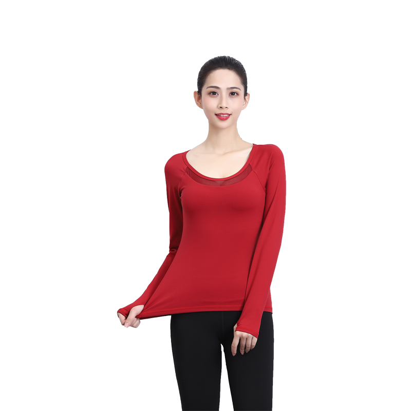 2019 spring and autumn new yoga suit long-sleeved t-shirt finger sleeve elastic breathable tight ladies sports fitness t-shirt