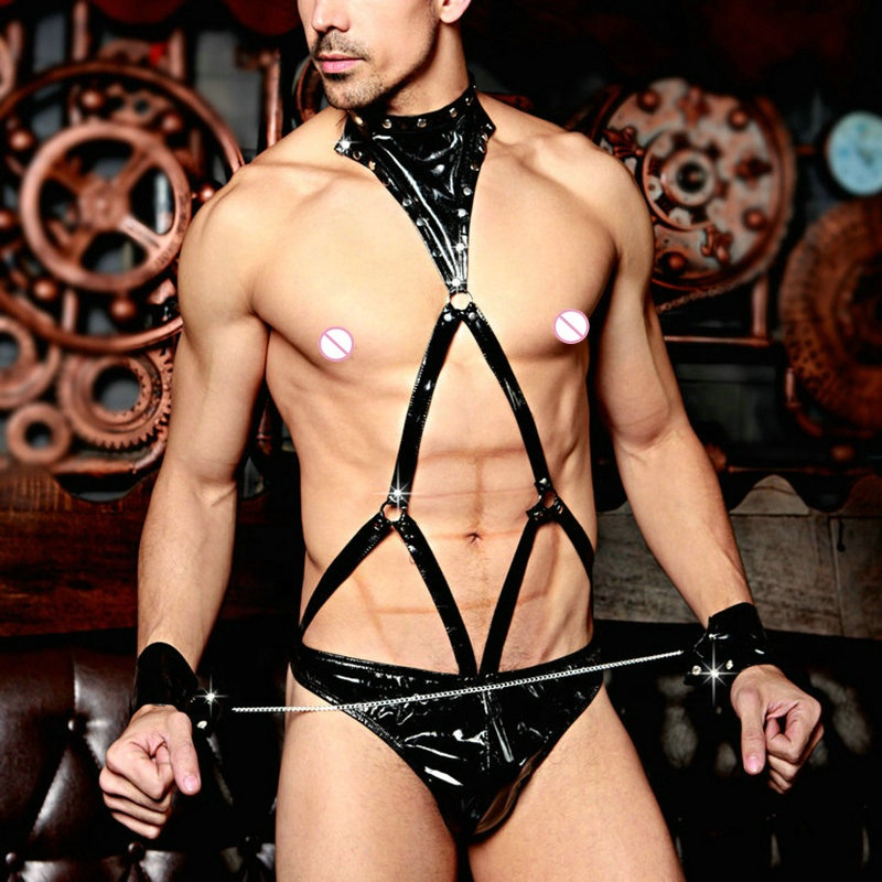 Couple series hot sale Male Sexy Adult Leather Costume Sexy Black Leather Man Slave bodysuit Costume