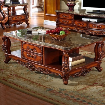 2019 Fancy solid wood coffee table with marble top