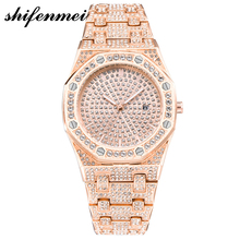 custom fashion Calendar Date octagon rhinestone quartz alloy brand diamond watch for men