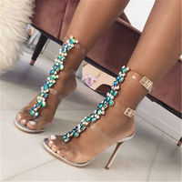 Women Summer Crystal PVC Transparent T-Strap Lady High Heels Shoes Sexy Female Party Shoes