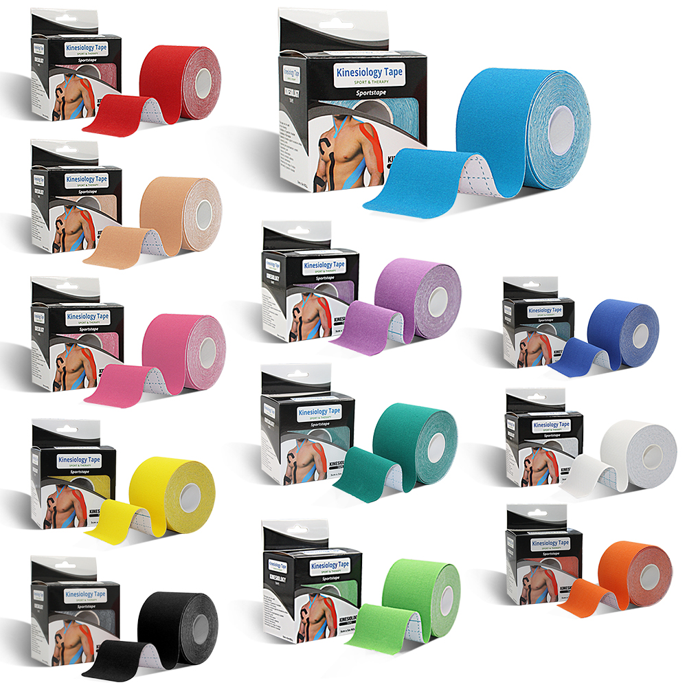 wholesale multiple colors available 5cm*5m nylon 4 way stretch kinesiology tape, Orange/purple/green/yellow/blue/skin/black/white/red/cyan/pink/