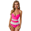 Fascinating Bright Color Lace Up Tassel Balls Bathing Suits Ladies One Piece Swimwear