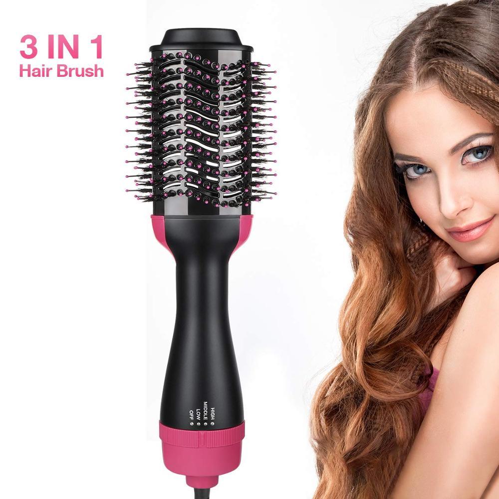 Hot Air Brush, One Step Hair Dryer Styler Volumizer Multi-functional 3-in-1 Salon Negative Ion Hair Straightener & Curly фото