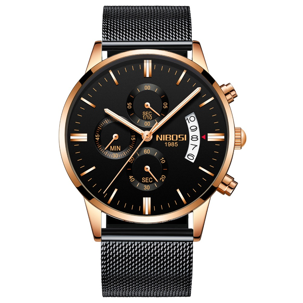 NIBOSI 2309S2 Casual Stainless Steel business men's quartz watch, N/a