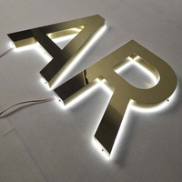 Custom Stainless Steel Material LED Back Light Up Letter Sign Product Name 3d signage
