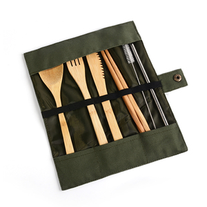 Bamboo Travel Utensils Reusable Bamboo Cutlery Flatware Set Include Fork Spoon Knife Straw Clean Brush With Carrying Bag