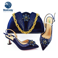 2018 New Fashion High-Heeled African Shoes and Bag Set With Stone Genuine Leather for party MG1152