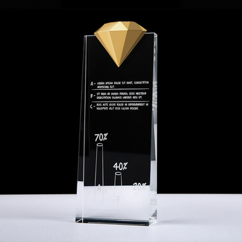 Featured Metal diamond crystal trophy for business gift